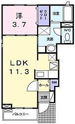 カーサ・フローレス 1階1LDKの間取り