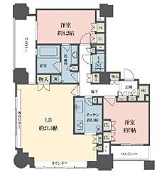 東京メトロ丸ノ内線 新宿御苑前駅 徒歩4分の賃貸マンション 21階2LDKの間取り