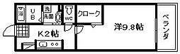 大阪府岸和田市加守町1丁目の賃貸マンションの間取り