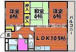 岡山県岡山市中区東川原丁目なしの賃貸マンションの間取り