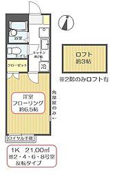 東京都江戸川区鹿骨1丁目の賃貸アパートの間取り