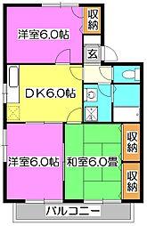 ハイムオマタ3 B[1階]の間取り