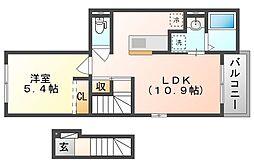 岡山電気軌道清輝橋線 清輝橋駅 徒歩27分の賃貸アパート 2階1LDKの間取り