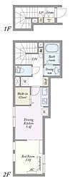 東京メトロ日比谷線 中目黒駅 徒歩11分の賃貸アパート 2階1DKの間取り
