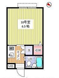 東京都目黒区上目黒2丁目の賃貸アパートの間取り