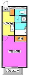 東京都東大和市中央4丁目の賃貸アパートの間取り