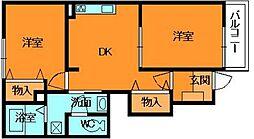 奈良県生駒郡平群町大字椣原の賃貸アパートの間取り