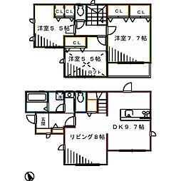JR中央本線 三鷹駅 バス14分 諏訪神社下車 徒歩4分の賃貸一戸建て 3LDKの間取り