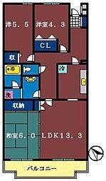 船橋夏見レジデンス[405号室]の間取り