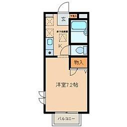 愛知県名古屋市天白区元植田2丁目の賃貸アパートの間取り