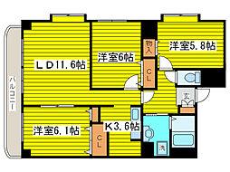北海道札幌市東区北二十条東15丁目の賃貸マンションの間取り