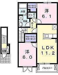 奈良県五條市今井町の賃貸アパートの間取り