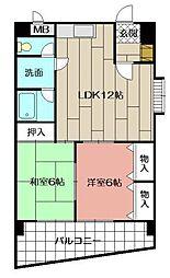 ハニーハイツ三萩野[405号室]の間取り