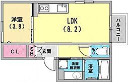 オンズ六甲 2階1LDKの間取り