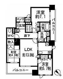 タワーザ上町台 3階3LDKの間取り