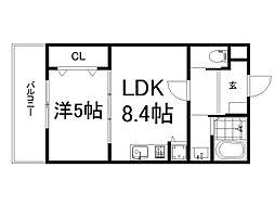 (仮称)深草町通町新築マンション 3階1LDKの間取り