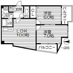 サンレジデンス南堀江[6階]の間取り
