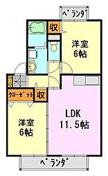 千葉県千葉市中央区蘇我3丁目の賃貸アパートの間取り