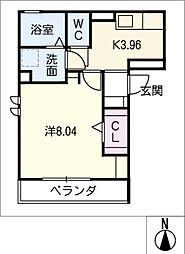 ハイツポニーII 2階1Kの間取り