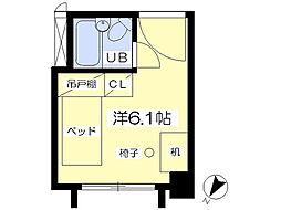 八木山スカイパンション 2階ワンルームの間取り