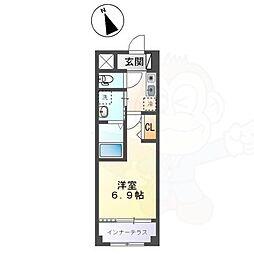 名古屋市営東山線 新栄町駅 徒歩6分の賃貸マンション 1階1Kの間取り