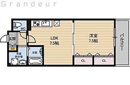 アージュヴェール 1階1DKの間取り