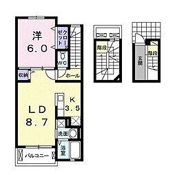 相鉄本線 大和駅 徒歩14分の賃貸アパート 3階1LDKの間取り