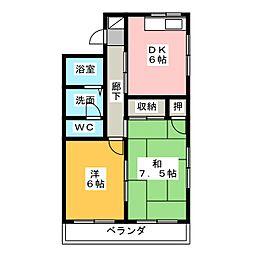 あけぼのマンションA[1階]の間取り