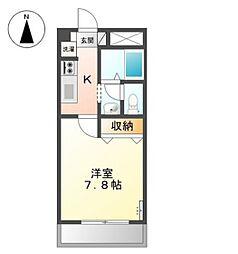 JR宇野線 備前西市駅 徒歩18分の賃貸アパート 2階1Kの間取り