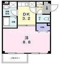 JR赤穂線 西大寺駅 徒歩13分の賃貸アパート 1階1DKの間取り