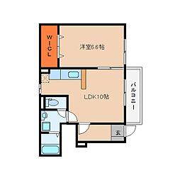 近鉄大阪線 大福駅 徒歩3分の賃貸アパート 1階1LDKの間取り
