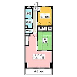 パークサイドグロリア[4階]の間取り