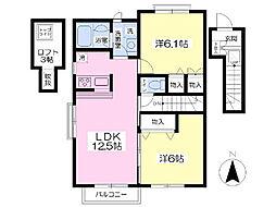 仙台市営南北線 北四番丁駅 徒歩23分の賃貸アパート 2階2LDKの間取り