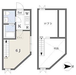 小田急江ノ島線 桜ヶ丘駅 徒歩4分の賃貸アパート 2階1Kの間取り