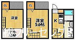 福岡県福岡市博多区堅粕3丁目の賃貸アパートの間取り