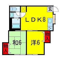 千葉県佐倉市山崎の賃貸アパートの間取り