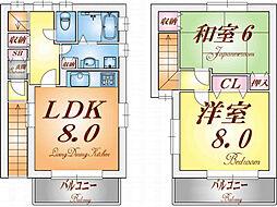 兵庫県神戸市長田区川西通4丁目の賃貸アパートの間取り