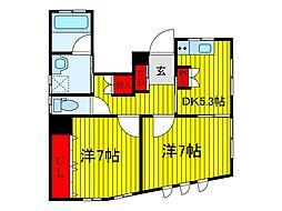 JR京浜東北・根岸線 上中里駅 徒歩4分の賃貸アパート 1階2DKの間取り