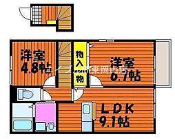 岡山県赤磐市桜が丘東1丁目の賃貸アパートの間取り