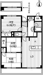大阪府豊中市浜1丁目の賃貸マンションの間取り