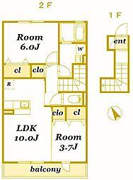 ソレイユB[2階]の間取り