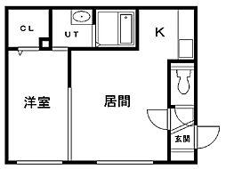 グランメール新道東駅北 3階1LDKの間取り