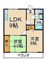 大阪府枚方市高田2丁目の賃貸マンションの間取り