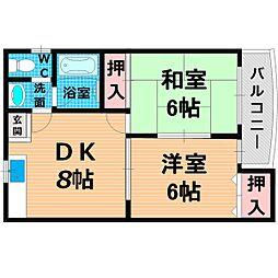 Osaka Metro今里筋線 清水駅 徒歩12分の賃貸マンション 4階2LDKの間取り