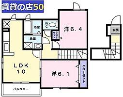 奈良県五條市二見4丁目の賃貸アパートの間取り