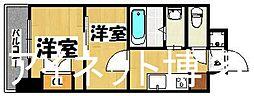 JR鹿児島本線 博多駅 徒歩7分の賃貸マンション 11階2Kの間取り