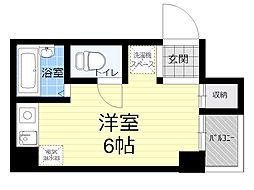 レバンガAP新大阪ステーションフロント 2階ワンルームの間取り