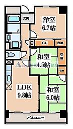 サニーヒル忍ケ丘 4階3LDKの間取り