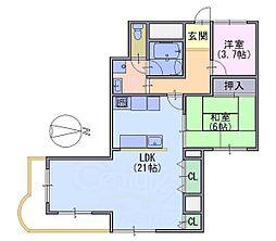ハイプラザ長岡306号[3階]の間取り