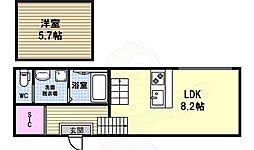 リバティ則武 1階1LDKの間取り